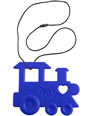 Nibbling Teether & Teething Necklace 2-in-1 - Blue Train - 100% Food Grade Silicone Teethers