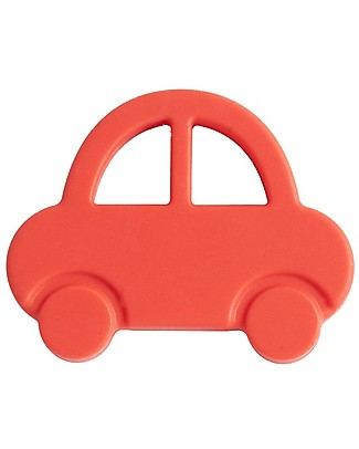 Nibbling Teether & Teething Necklace 2-in-1 - Red Car - 100% Food Grade Silicone Teethers