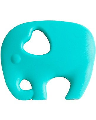 Nibbling Teether & Teething Necklace 2-in-1 - Turquoise Elephant - 100% Food Grade Silicone Teethers