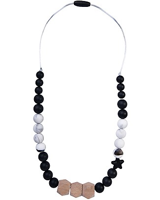 Nibbling Teething Necklace Natural Range - Solar Black/Marble - Natural Wood and Food Grade Silicone null