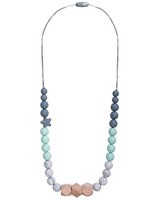 Nibbling Teething Necklace Natural Range - Solar Mint/Marble - Natural Wood and Food Grade Silicone Teething Necklaces