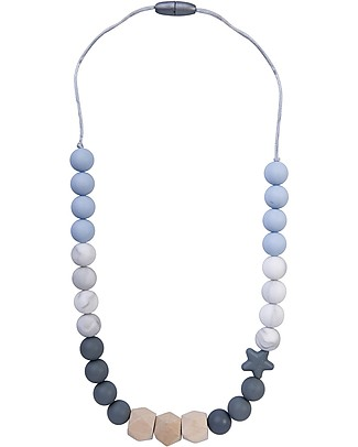 Nibbling Teething Necklace Natural Range - Solar Soft Blue/Marble - Natural Wood and Food Grade Silicone Teething Necklaces