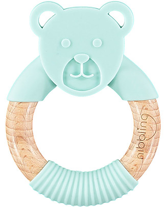 Nibbling Teething Ring 2-in-1 - Ted the Bear - Mint - Natural Wood and Food Grade Silicone! Teethers