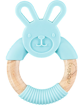 Nibbling Teething Ring - Bo the Rabbit - Blue - Natural Wood and Food Grade Silicone! Teethers