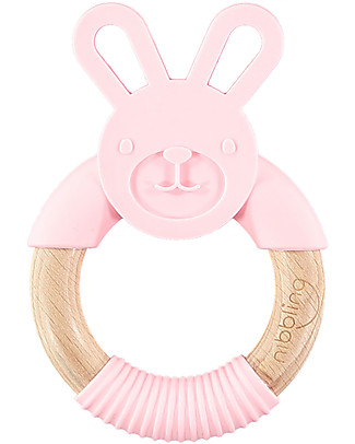 Nibbling Teething Ring - Bo the Rabbit - Pink - Natural Wood and Food Grade Silicone! Teethers