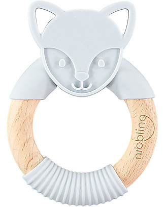 Nibbling Teething Ring - Flex the Fox - Grey - Natural Wood and Food Grade Silicone! Teethers