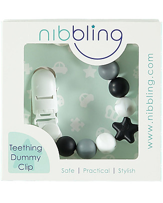 Nibbling Universal Dummy Clip - Comet Baby Black/Marble - 100% Food Grade Silicone and Breakaway Clasp! Dummies & Soothers