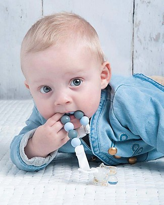 Nibbling Universal Dummy Clip - Comet Baby Blue/Grey - 100% Food Grade Silicone and Breakaway Clasp! Dummies & Soothers