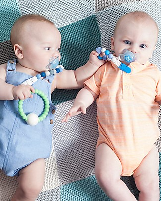 Nibbling Universal Dummy Clip - Geo Blue - 100% Food Grade Silicone and Breakaway Clasp! Dummies & Soothers