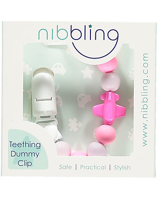Nibbling Universal Dummy Clip - Jetset Pink - 100% Food Grade Silicone and Breakaway Clasp! Dummies & Soothers