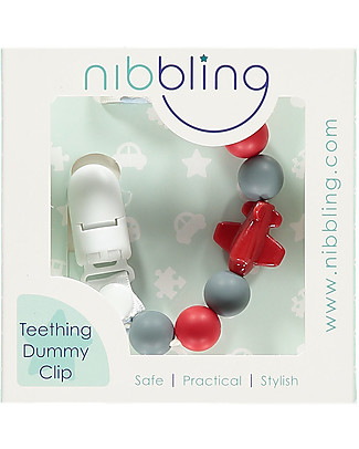 Nibbling Universal Dummy Clip - Jetset Red - 100% Food Grade Silicone and Breakaway Clasp! Dummies & Soothers