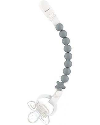 Nibbling Universal Dummy Clip - Pluto Grey - 100% Food Grade Silicone and Breakaway Clasp! Dummies & Soothers