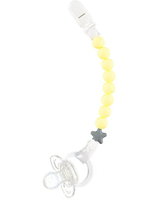 Nibbling Universal Dummy Clip - Pluto, Yellow - 100% Food Grade Silicone and Breakaway Clasp! Dummies & Soothers