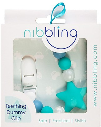 Nibbling Universal Dummy Clip - Stellar Turquoise/Blue - 100% Food Grade Silicone and Breakaway Clasp! Dummies & Soothers