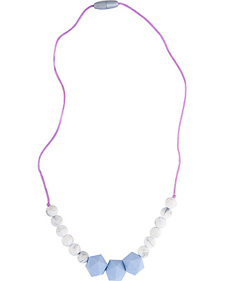 Nibbling Wetherby Teething Necklace - Lavander/Marble - 100% Food Grade Silicone and Breakaway Clasp! Teething Necklaces