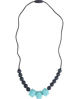 Nibbling Wetherby Teething Necklace - Turquoise/Black - 100% Food Grade Silicone and Breakaway Clasp! Teething Necklaces