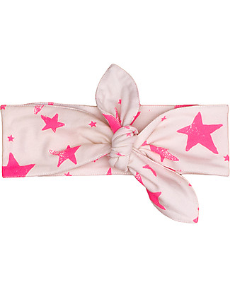 Noé&Zoë Baby Headband, Neon Pink Stars - 100% organic cotton Hair Accessories