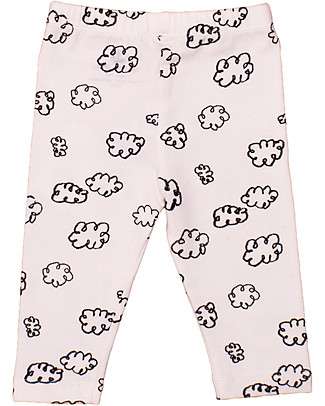Noé&Zoë Baby Leggings, Black Clouds - Elasticated organic cotton Leggings
