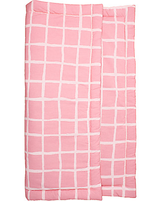 Noé&Zoë Baby Padded Playmat Square, 85 x 85 cm – Rose Grid – 100% cotton Carpets