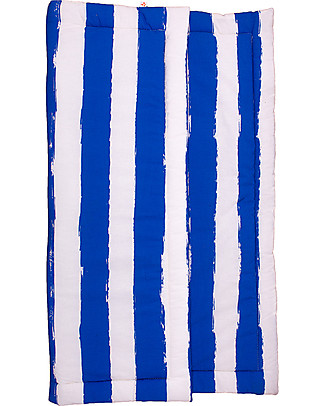 Noé&Zoë Baby Padded Playmat Square, 85 x 85 cm – Stripes XL, Blue – 100% cotton Carpets