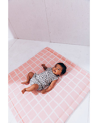 Noé&Zoë Baby Padded Playmat Square, 85 x 85 cm - Rose Grid - 100% cotton Carpets