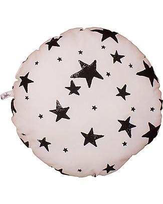 Noé&Zoë Circle Pillow 32 cm, Black Stars – 100% organic cotton Cushions