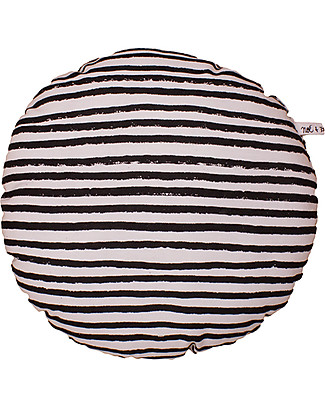 Noé&Zoë Circle Pillow 32 cm, Black Stripes S – 100% organic cotton Cushions