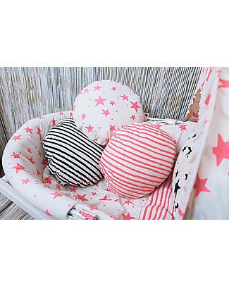 Noé&Zoë Circle Pillow 32 cm, Black Stripes S - 100% organic cotton Cushions