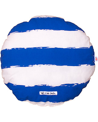 Noé&Zoë Circle Pillow 32 cm, Blue Stripes XL – 100% organic cotton Cushions