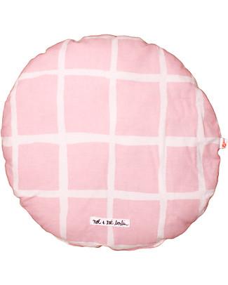 Noé&Zoë Circle Pillow 32 cm, Rose Grid – 100% organic cotton Cushions