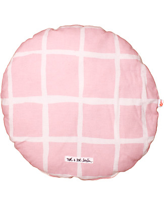 Noé&Zoë Circle Pillow 32 cm, Rose Grid - 100% organic cotton Cushions
