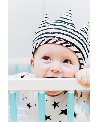 Noé&Zoë Double-Sided Baby Crown, Black Stars/Stripes – 100% organic cotton Dressing Up & Role Play