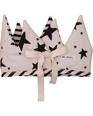 Noé&Zoë Double-Sided Baby Crown, Black Stars+Stripes - 100% organic cotton Dressing Up & Role Play