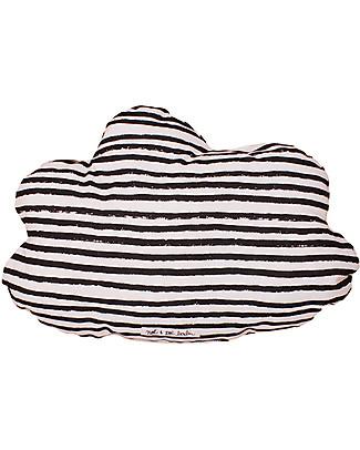 Noé&Zoë Double Sided Cloud Pillow, 35 cm, Black Stars and Stripes – 100% organic cotton Cushions