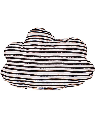 Noé&Zoë Double Sided Cloud Pillow, 35 cm, Black Stars and Stripes - 100% organic cotton Cushions