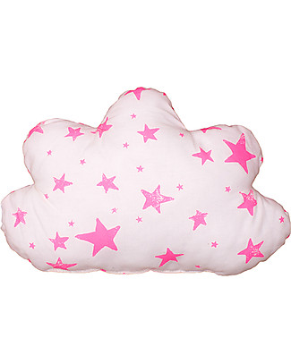 Noé&Zoë Double Sided Cloud Pillow, 35 cm, Neon Pink Stars and Stripes – 100% organic cotton Cushions