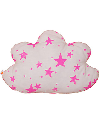 Noé&Zoë Double Sided Cloud Pillow, 35 cm, Neon Pink Stars and Stripes - 100% organic cotton Cushions