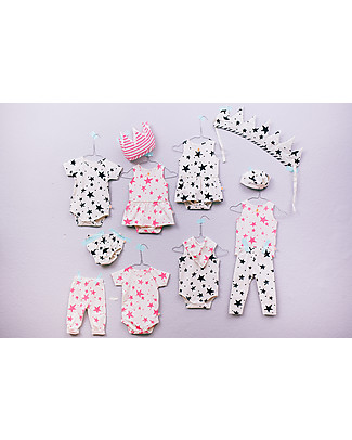 Noé&Zoë Leggings, Neon Pink Stars – 100% organic cotton Leggings
