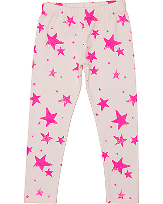 Noé&Zoë Leggings, Neon Pink Stars - 100% organic cotton Leggings