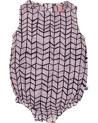 Noé&Zoë Puffy Romper, Black Wave Grid – 100% cotton Short Sleeves Bodies