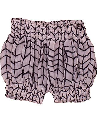 Noé&Zoë Puffy Shorts, Black Wave Grid – 100% cotton Shorts