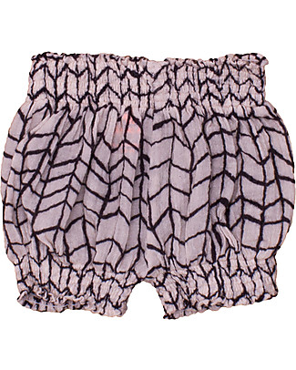 Noé&Zoë Puffy Shorts, Black Wave Grid – 100% cotton Shorts
