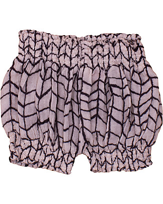 Noé&Zoë Puffy Shorts, Black Wave Grid - 100% cotton Shorts