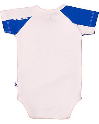 Noé&Zoë Short Raglan Sleeved Bodysuit, Blue/Jellyfish - Elasticated organic cotton Short Sleeves Bodies