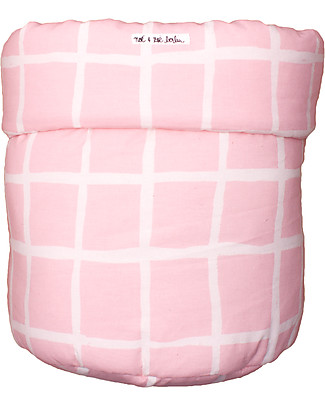 Noé&Zoë Storage Basket 35 x 48 cm, Rose Grid - 100% organic cotton Toy Storage Boxes