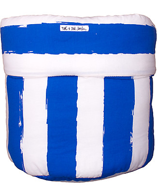 Noé&Zoë Storage Basket 35 x 48 cm, Stripes XL Blue - 100% organic cotton Toy Storage Boxes