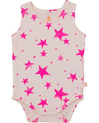 Noé&Zoë Tank Body, Neon Pink Stars – 100% organic cotton Short Sleeves Bodies