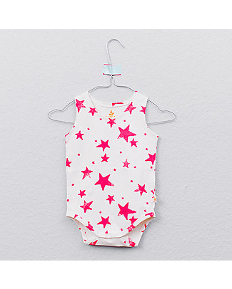 Noé&Zoë Tank Body, Neon Pink Stars - 100% organic cotton Short Sleeves Bodies