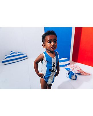 Noé&Zoë Tank Body, XL Stripes, Blue – Elasticated organic cotton Short Sleeves Bodies