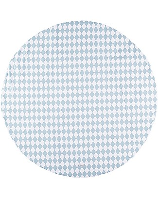 Nobodinoz Apache Round Carpet Large, Diamonds Blue - 145 cm - Organic cotton Carpets